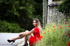 Lisa.D. By Corsu. (By Corsu) Tags: by corsu canon eos 6d 100400 l flickr corse corsica femme fille teen teenage face portrait visage robe rouge cheveux shooting flower fleurs rue street modele young corte