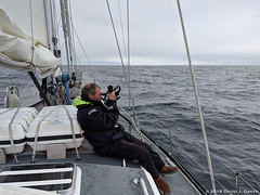 First Sun Sight (David J. Greer) Tags: ponta delgada portugal passage sailing travel adventure atlantic ocean rubicon3 sailtrainexplore expedition man male guy sit sitting deck oriole bowman sailboat boat celestial navigation sun sight