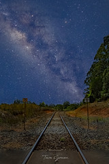All Aboard The Milky way Express (Photography By Tara Gowen) Tags: milkyway night stars railway trainline tracks nikon nikonaustralia taragowen photographybytaragowen nsw australia nightscape blue moonlight