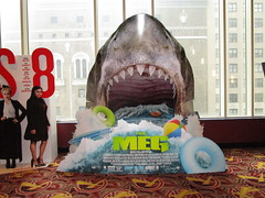 The Meg 2018 film Theater Shark Standee NYC 3202 (Brechtbug) Tags: the meg 2018 film based 1997 science fiction book a novel deep terror by steve alten giant shark movie that has bounced around studios for two decades megalodon monster theater lobby standee amc loews 34th street 14 theatre jaws like summer august holiday ocean creature spooky sea monsters nyc 05272018 new york city midtown west side