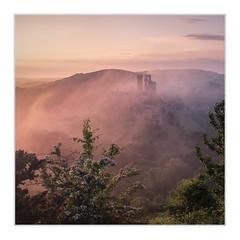 Corfe Castle (Sean D H Lewis) Tags: corfe castle dorset mist sunrise purbeck fujixt2