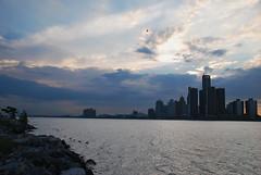 June 1 - 03 (Sofeha) Tags: water waterfront nature tree clouds sunset reflection detroit motorcity