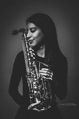 Musically Love (LuisGomezPhotography) Tags: portrait sax saxophone music musica instrument beauty blackandwhite bnw monochrome girl women young blancoynegro lowlight studiolight lighting