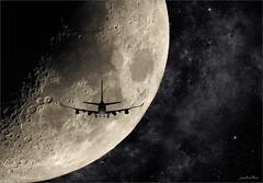 Bon voyage (Jean-Michel Priaux) Tags: nikon p900 moon lune space zoom plane fly photoshop