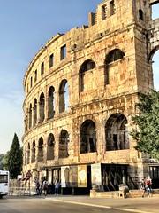 The man and the sea (aiva.) Tags: croatia istria pula hrvatska istra balkan jadran adriatic architecture coliseum arena amphitheater sunset ruins antic