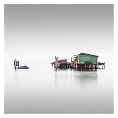 Capanna IX (Vesa Pihanurmi) Tags: capanna hut piles fishing sea lagoon venezia venice italy minimalism fog longexposure lagunaveneta venetianlagoon architecture boat shack