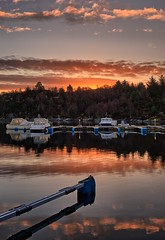 Actually a January morning 2018 (Vest der ute) Tags: g7xm2 g7xll norway rogaland røyksund sea fjord water reflections mirror boats quay sky clouds earlymorning sunrise trees fav25 fav200