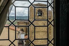 TRAS LOS CRISTALES (bacasr) Tags: ancient ventana romanesque arquitectura torre window church tower monument antiguo belltower iglesia románico campanario monumento architecture