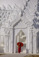 A Buddhist novice monk at white temple (phuong.sg@gmail.com) Tags: architecture asia asian belief boys buddha buddhism buddhist burma burmese children culture historical hsinbyme kid landmark large little locations maintain mandalay mingun monastery monks myanmar myatheindan novice old pagoda people person places portrait prayer red religious spirituality stupa temple theravada traditional travel umbrella white worship young