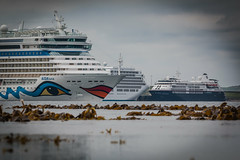 Three's a Crowd (MBDGE >1.4 Million Views) Tags: orkney ocean offshore sea scotland ship sky seascape shoreline scenery blue boat beach britain boats liner cruise weed canon canon70d cloud clouds contrast cloudy silverspirit silvercloud aidaluna threesacrowd