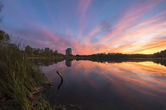 Weekend Finale (Nicoli OZ Mathews) Tags: art landscape highpark toronto beautiful sunset lake pond grenadierpond reflection yellow red rokinon rokinon8mm cloudscape clouds ontario water
