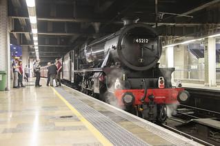 Black 5 steam locomotive 45212 at London Paddington