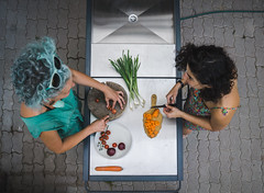 (taxtamas) Tags: hair color colorful people women table food cooking teal