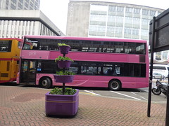 Rail replacement buses on Smallbrook Queensway, Birmingham - Pink Routes (ell brown) Tags: smallbrookqueensway birmingham westmidlands england unitedkingdom greatbritain bankholidaymonday springbankholidaymonday bus buses railreplacementbus railreplacementbuses tree trees midlandclassic pinkroutes norfolkhouse