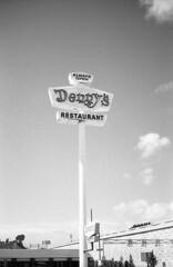 Denny's. San Clemente, CA. (lammyracer) Tags: dennys neon sign americana blackandwhite film 35mm fomapan minoltaaf2
