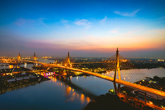 Beautiful bridge and river landscapes bird's eye view during sunset, Bangkok Thailand (Patrick Foto ;)) Tags: architecture asia bangkok beautiful beauty bhumibol blue bridge building chao city cityscape commerce connect connection design detail dusk high industrial landmark landscape modern nature night panorama phraya reflection ring river road scenic sky skyline sunrise sunset thai thailand transport transportation travel twilight urban view water krungthepmahanakhon th