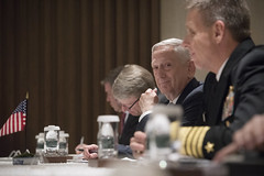 U.S., Japan and Australian Trilateral meeting (Secretary of Defense) Tags: shangrila dialogue partnerships strengtheningalliances secretarymattis chaos pmloong singapore japan australia