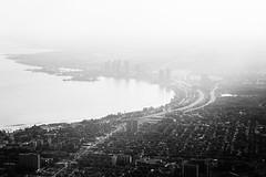 Vanishing (Michael Muraz) Tags: 2018 bw blackwhite canada northamerica ontario toronto world aerial aerialphotography lake lakeontario monochrome plane skyline ca