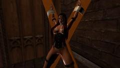 Corsetted Mandy on the Cross_001 (Mandy Galileo) Tags: sl secondlife bdsm cross corset mandy cuffed