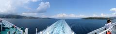 148 | Corfu (L) & Albania (R) (panorama) (Mark & Naomi Iliff) Tags: mv elyros ελυροσ anek ανεκ aboard afloat ferry ship atsea adriatic mediterranean corfu κέρκυρα albania shqipni panorama clouds wake sea