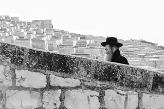 Man at the Jewish cemetery, Jerusalem