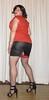 wetlook skirt with fishnet stockings (Barb78ara) Tags: skirt miniskirt wetlook wetlookskirt stilettoheels highheels heels stilettohighheels sandals stockings stockingtops seams seamedstockings redstockingtops redtop secretary sexysecretary tgirlsecretary xdresser slit