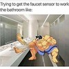 Me trying to get the automatic sink to work like... (funnipic) Tags: dadjokes funnyjokes funnypics jokes