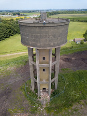 Water Tower by Drone (scrappy nw) Tags: abandoned scrappynw scrappy derelict decay urbex ue urbanexploration urbanexploring uk england watertower concrete forgotten merseyside lancashire