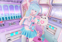 Arcade Queen (Gabriella Marshdevil ~ Trying to catch up!) Tags: sl secondlife cute kawaii doll pastel anime ayashi catwa meshhead bento caboodle axix arcade