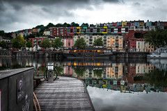 Cliftoonwood, Bristol, UK (KSAG Photography) Tags: houses architecture reflection harbour port bristol uk england unitedkingdom britain may 2018 europe wideangle nikon city urban water cloud skyline landscape boat barge