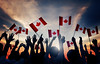 graceandfire_canada (graceandfire) Tags: handraised women men groupofpeople celebration patriotism canadianflag holding canadianculture teamwork variation backlit outdoors cheerful ecstatic audience people canada sunset nationalflag flag