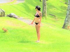 Richardson Ocean Park (thomasgorman1) Tags: dog park richardson leash bikini woman outdoors candid street grass hawaii hilo canon bright colors trees beach rocks chihuahua tattoos tattoo