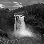 A Grassy Meadow to Complete a Setting of Snoqualmie Falls (Black & White) thumbnail