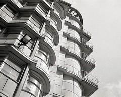Grosvenor House (OhDark30) Tags: olympus 35rc 35 rc 35mm film monochrome bw blackandwhite bwfp fomapan 200 rodinal grosvenorhouse newst birmingham modernist architecture 20thcentury building balconies