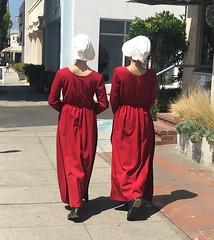 Handmaid's Tale in Santa Monica (remiklitsch) Tags: bonnet hat dress white remiklitsch miksang random iphone handmaidstale santamonica city urban street red