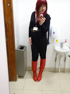 Jumpsuit and Red Boots