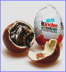 That's one rotten egg! (Fotofricassee) Tags: kinder egg surprise guard dog chocolate