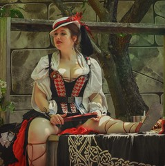 Alice (clarkcg photography) Tags: woman red dress lace hat lipstick fan renaissance alice