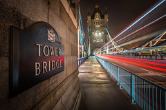 Tower Bridge, London (FotoByOliver) Tags: tower bridge night long exposure light trails structure traffic london road evening lights buildings barrier nikon geotagged architecture lines railings beams uk england british omnibus doppeldecker trail travel leuchtspur