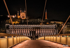 Lyon by night (oxybis_photos) Tags: nightscape nightphotography passerrelle palaisdejustice fourvière lyon saône cityscape
