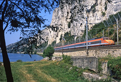 TGV PSEs 91+93 forming a Paris-Nice/Cannes service running adjacent to the River Rhone at Donzere on 8August1998 (mikul44171) Tags: vipers adders rivegauche tgv pse picnic frame rhone piquenique