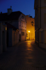 Quiet and dark street of Old Town (Jacek Rudowski) Tags: old town city history historic silent dark quiet street darkness light lamp lanter sky blue shadow moody tourism travel night nightphoto nightshot nightphotography architecture buildings empty historical lightandshadow lightandshadows poland polska piotrkow trybunalski