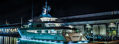 party girl conspicuous consumption (pbo31) Tags: sanfrancisco city california night dark urban june 2018 color boury pbo31 nikon d810 black embarcadero bay sail port reflection partygirl yacht blue pier dock panoramic large stitched panorama rent lease georgetown