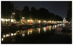 Reflections (Gert Vanhaecht) Tags: reflections night iphone canal perspective colour tree light water colours buildings reflection gertvanhaecht trees iphone7 dof city