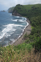beach at Pololu Valley (BarryFackler) Tags: pololuvalley northkohala hawaiiisland outdoor bigisland nature scenery 2018 hawaii beachpark pacificocean sea saltwater pacific hawaiicounty water polynesia overlook cliffs ecology scenic vista tropical trees forest waves surf foam people sand coast littoral shoreline marine coastal shore coastline konacoast clouds sky kohala barryfackler barronfackler sandwichislands hawaiianislands island ocean blacksandbeach trail path estuary waterway