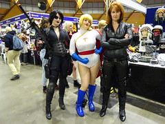 Superheroines Domino, Power Girl and the Black Widow (Sconderson Cosplay) Tags: supanova sydney 2018 cosplay avengers marvel black widow natalia romanova natasha romanoff shield power girl kara zorl karen starr domino neena thurman