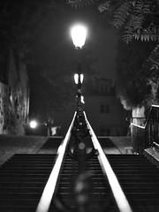 Montmartre (@phr_photo) Tags: street monochrome paris montmartre escalier rue nuit night perspective urban city nikon d750