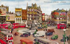 Piccadilly Circus, London, postcard 1948 (The Wright Archive) Tags: piccadilly circus london vintage postcard 1950s 1953 fifties city town traffic red bus buses eros statue londonstreet londonscene uk england 1948 1940s 40s valesque