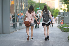 A couple of women ahead of me on the Cooper Square sidewalk. (kevinrubin) Tags: newyorkcity street streetphotography nyc newyork unitedstates us