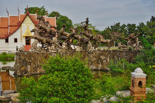 Bronze sculpture with horses in the Garden of the Gods in Muang Boran open air museum in Samut Phrakan near Bangkok, Thailand